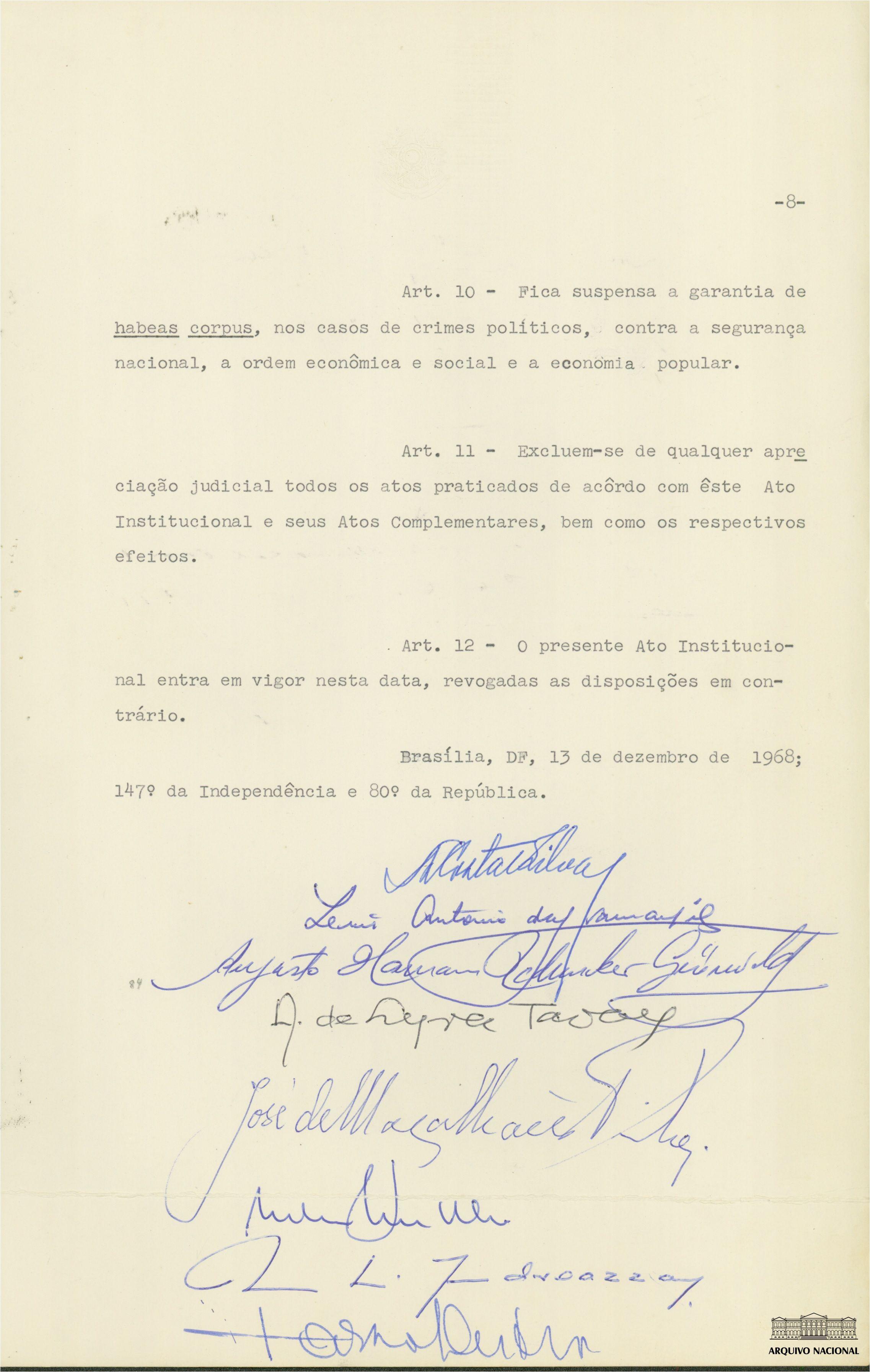 Pagina 8 Do Ato Institucional N 5 Ai 5 Contendo As Assinaturas