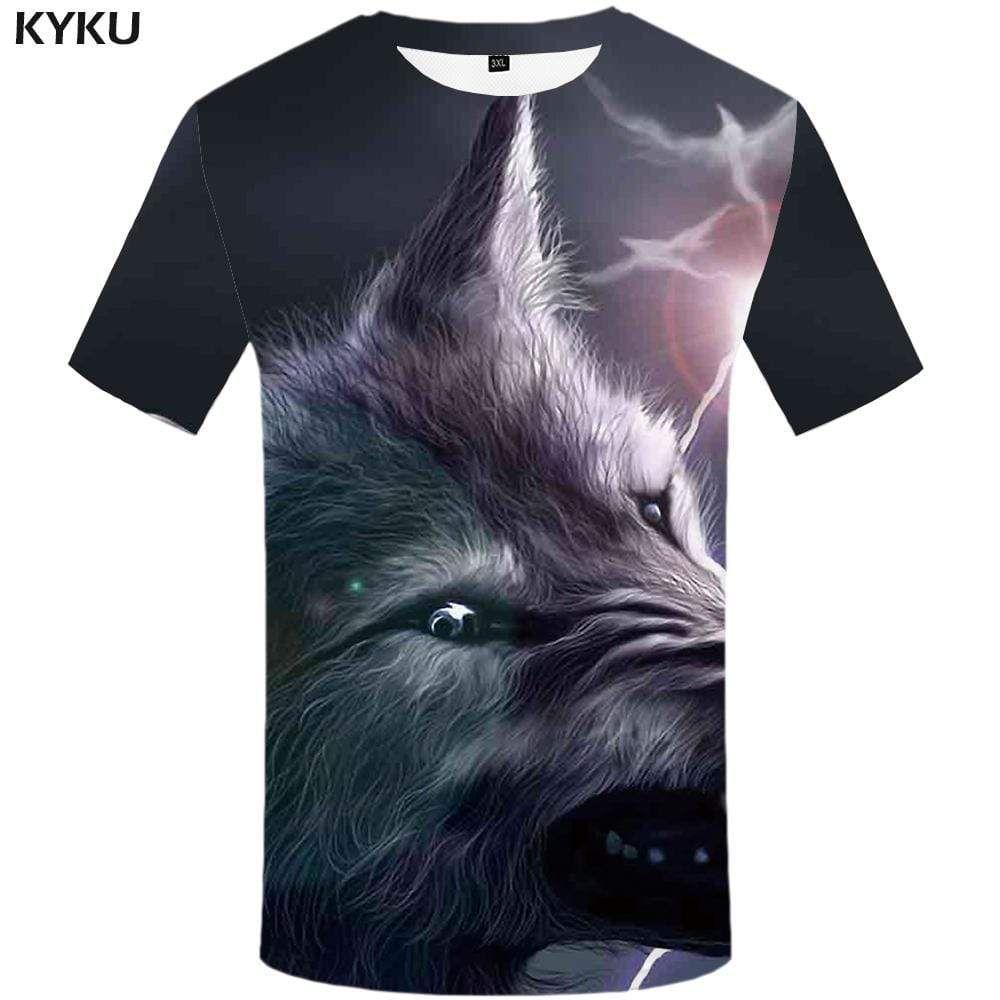 Photo of Wolf T shirt Men Lightning Tshirt Anime Gray T-shirt 3d Animal T shirts Funny Art Tshirts Print Mens Fashion Hip hop Unisex – 5XL