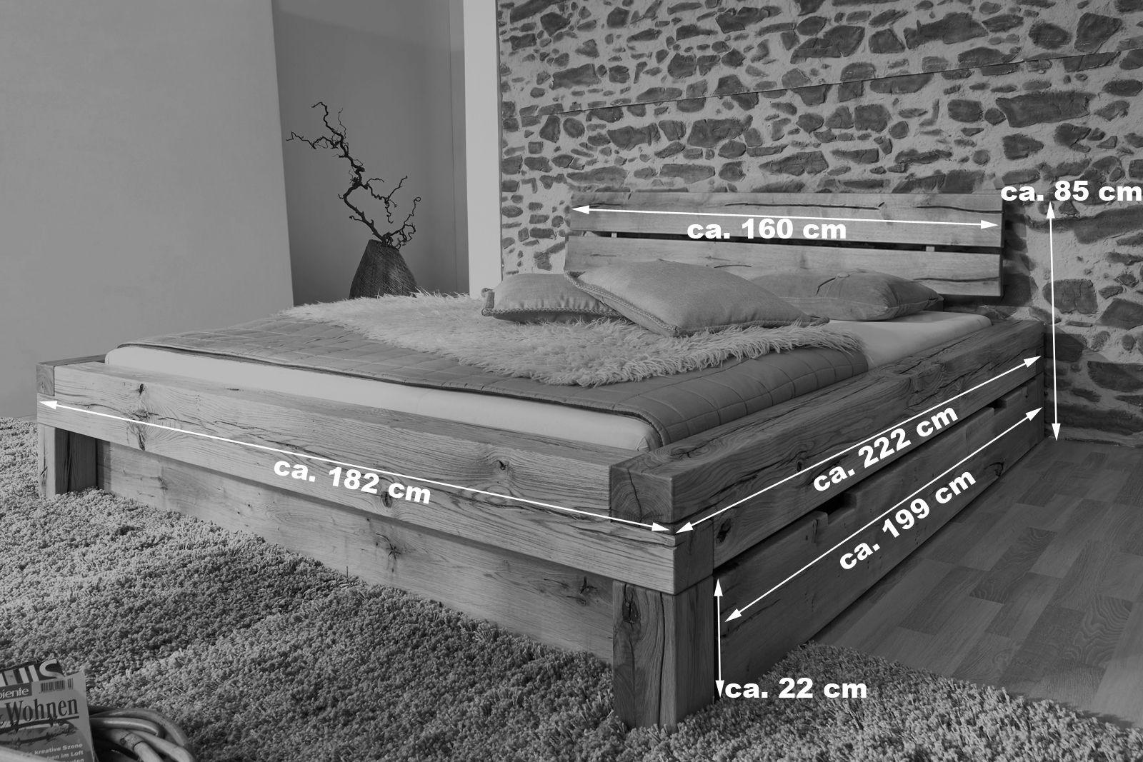 Sam Balkenbett 160x200 Massivholzbett Mit Bettkasten Wildeiche