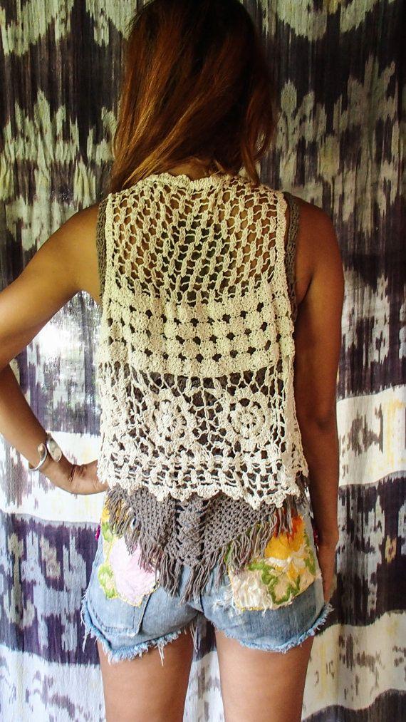 Beige Festival Lace Vest One Size Boho Vest Hippie Vest Crochet
