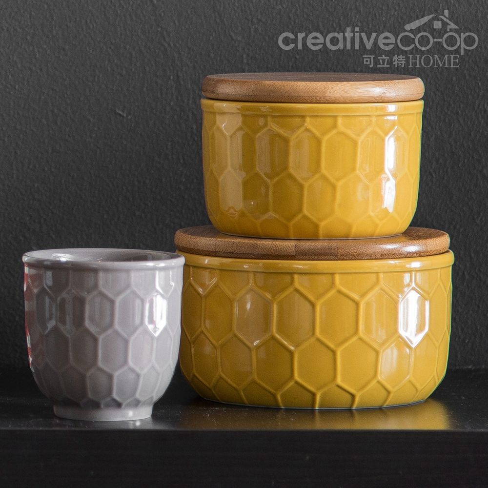 2016.9 Golden Yellow Canisters w/ Honeycomb Design & Bamboo Lid ...
