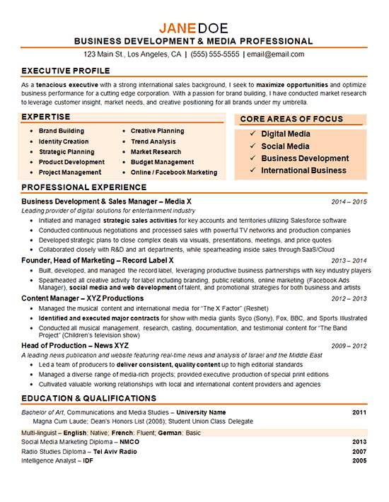 Digital Marketing Resume Example  Sample Resume Marketing Resume