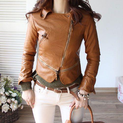 Cool Slim Pure Color Women's Zip PU Jacket