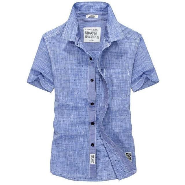 77e0291407a71b Lightweight Linen Men's Summer Short-Sleeve Casual Shirt M-5XL 3 Colors