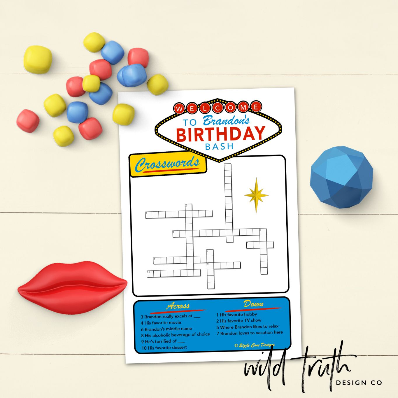 Quiz Friends Fam With Your Very Own Vegas Themed Birthday Crosswords Game 10 Custom Clues Available As Printable PDF Or Printed Cards
