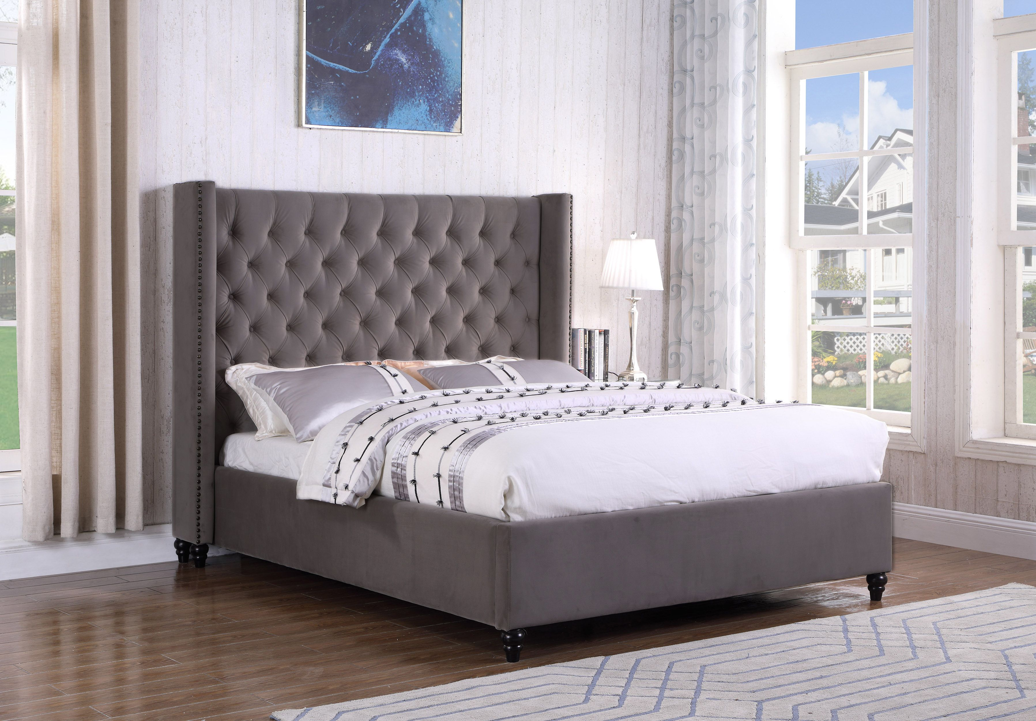This Bed Sets A Neoclassic And Contemporary Design With Its Beautiful Warm Color It Is Upholster Queen Upholstered Bed Upholstered Sleigh Bed Upholstered Beds