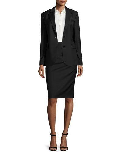 fb2eb2254480 -6VAE Theory Aaren Continuous Wool-Blend Jacket, Black Tanelis Sleeveless  Silk Blouse Hemdall B Continuous Pencil Skirt, Black