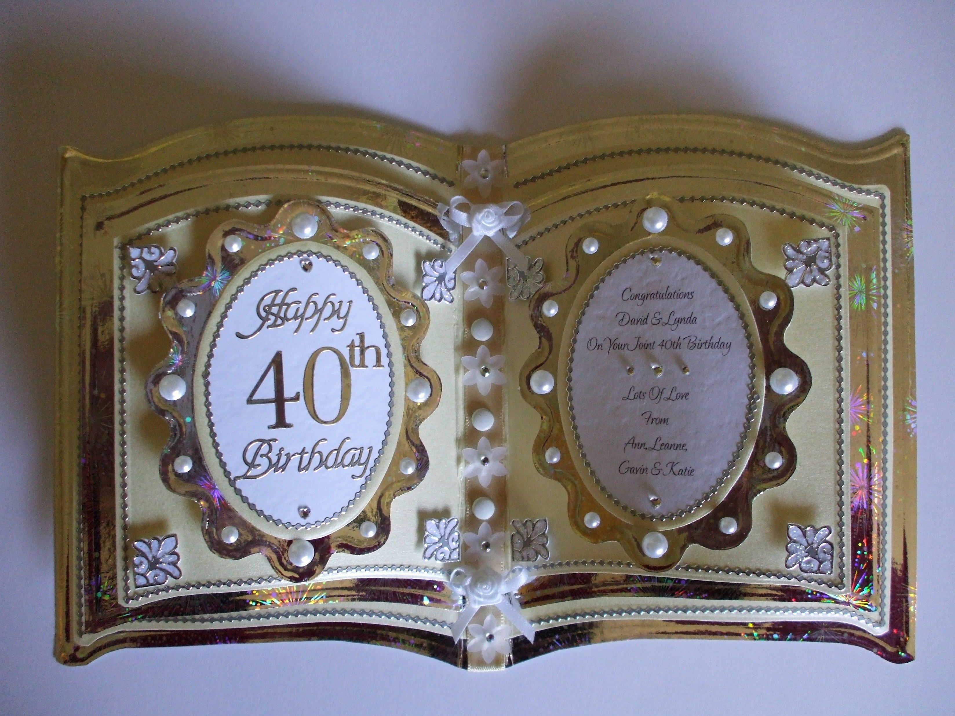 Commission 40th Birthday Bookatrix 40th Birthday Cards Crafters Companion Cards Shaped Cards