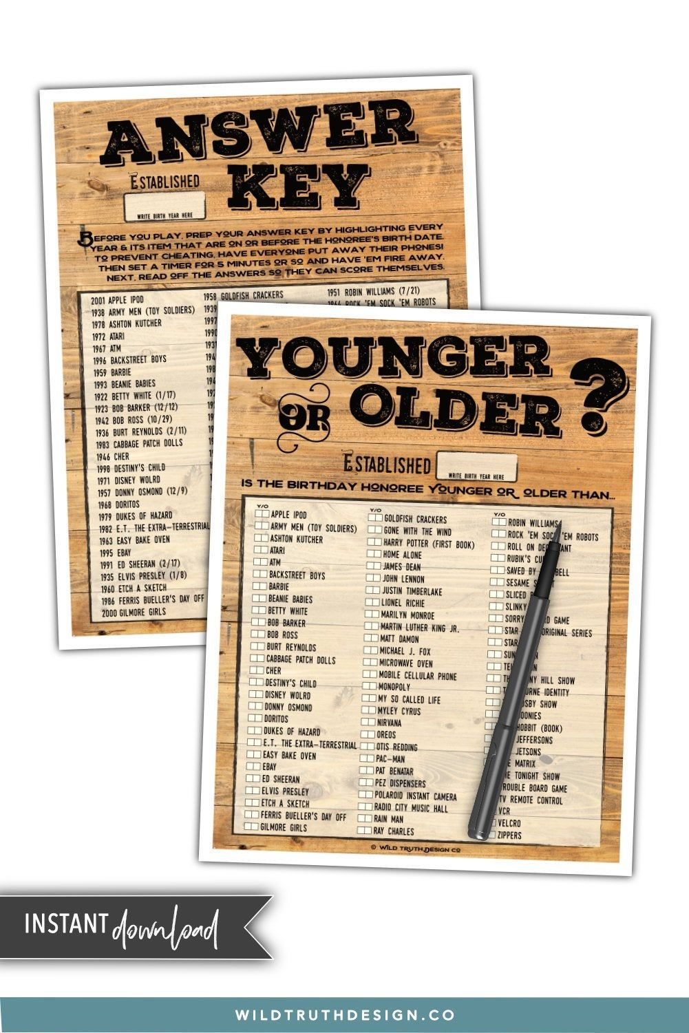 Younger or Older Adult Birthday Game Birthday Party Game