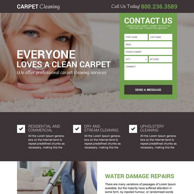Carpet Cleaning Service Free Quote Landing Page Design Cleaning