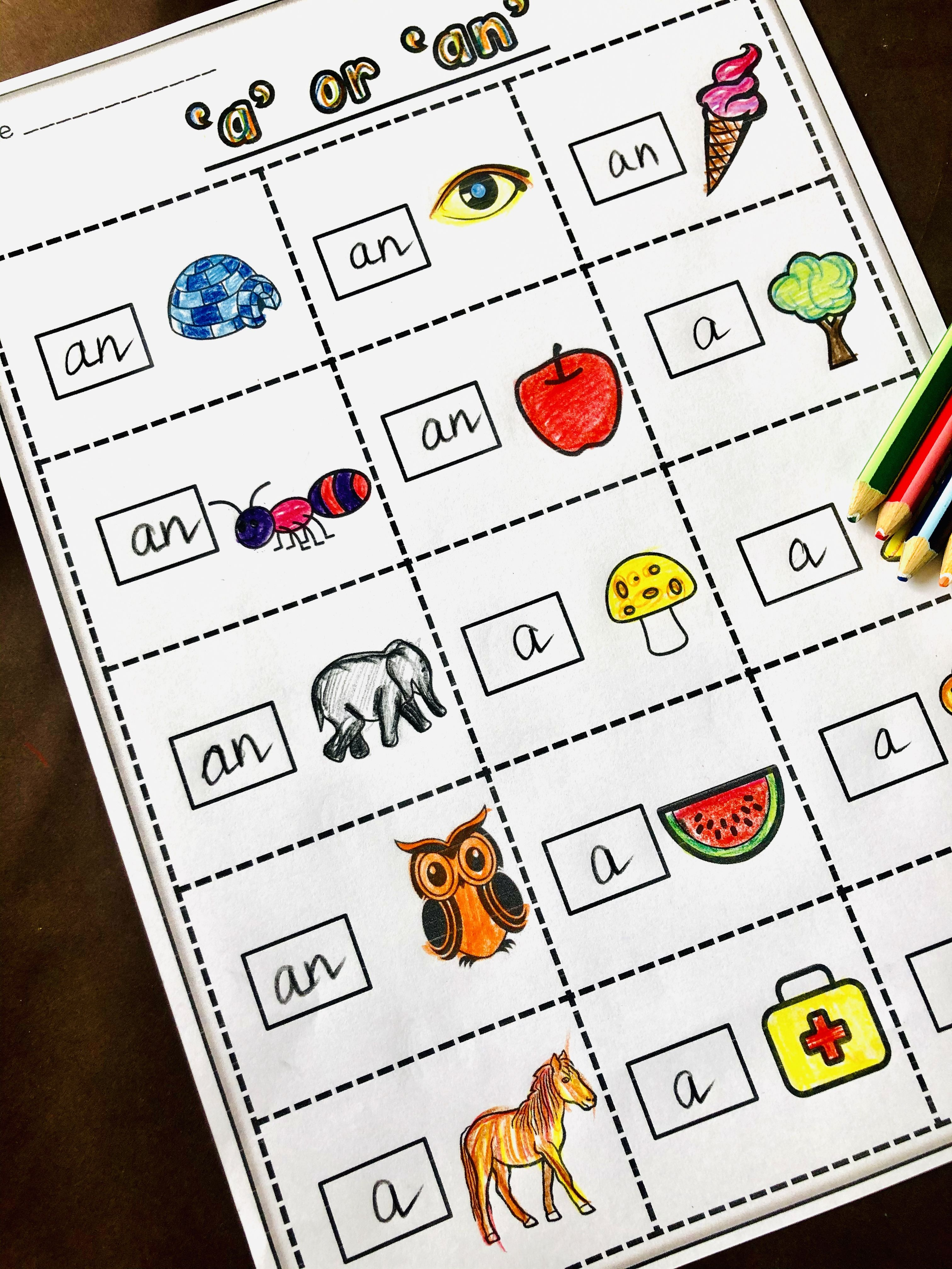 Article A An Worksheet For Kids