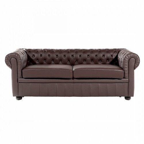Clackline Cowhide Faux Leather 3 Seater Chesterfield Sofa Home