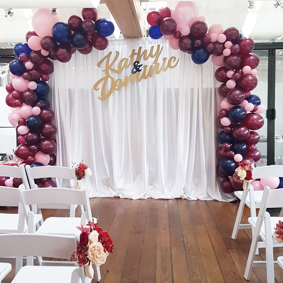 Beautiful Burgundy Pink Navy Wedding Backdrop With Custom Name Sign Wedding Balloons Wedding Shower Decorations Pink Bridal Shower