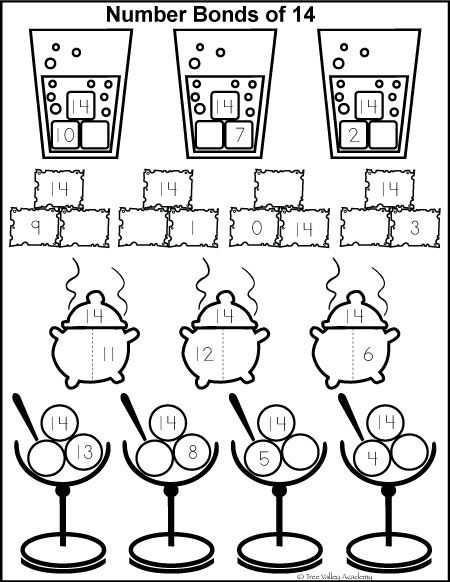 Number Study Fourteen Free Math Printables Numbers Kindergarten Number Bonds Worksheets