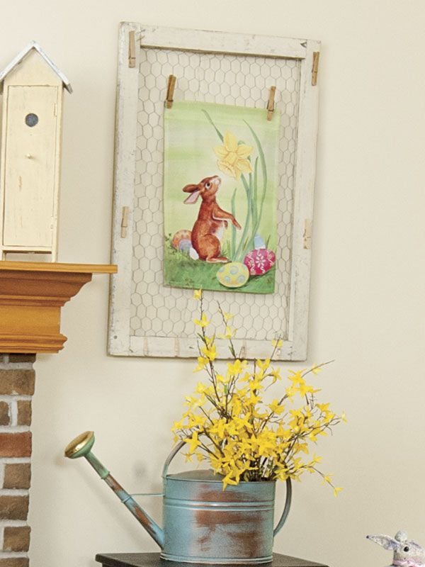 For an Easter wall accent, attach chicken wire to an empty window ...