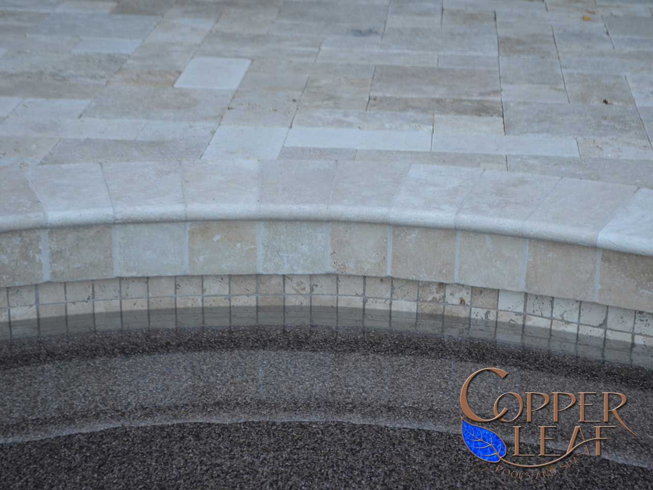 Travertine coping travertine coping pavers and for Swimming pool tile pictures