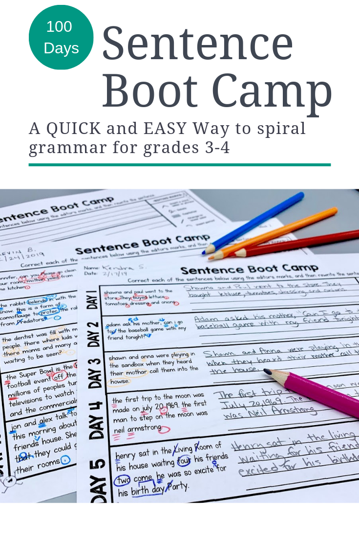 Sentence Boot Camp 100 Days Of 5 Minute Grammar Review For Grades 3 4 First Grade Math Worksheets 2nd Grade Math Worksheets 3rd Grade Spelling Words [ 1102 x 735 Pixel ]