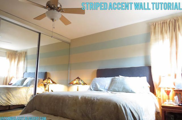 Diy Home decor ideas on a budget. : Striped Accent Wall Tutorial - Step 1 In Making my Parents Room Fabulous!