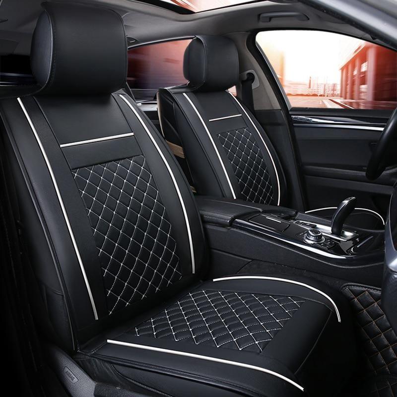 Front Rear Luxury Leather Car Seat Cover 4 Season For Hyundai Santa Fe Ix25 Solaris Water Proof Capa Para Diy Car Seat Cover Leather Car Seats Car Seats