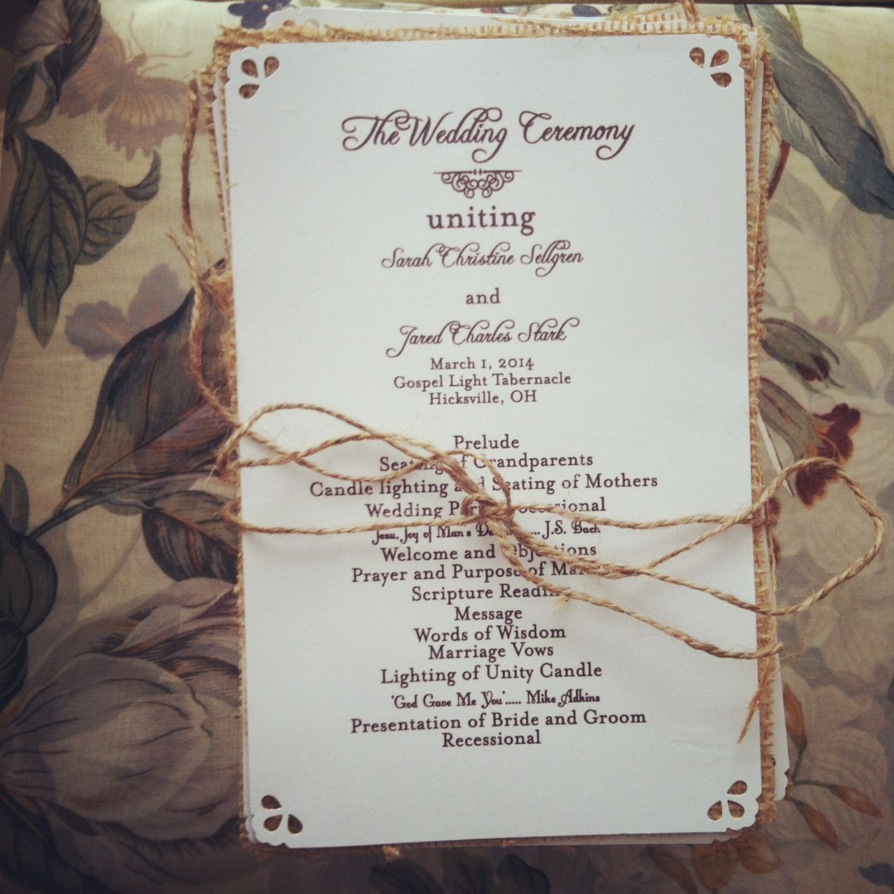 Small Ceremony Big Reception Invitations: Rustic Clean Wedding Programs