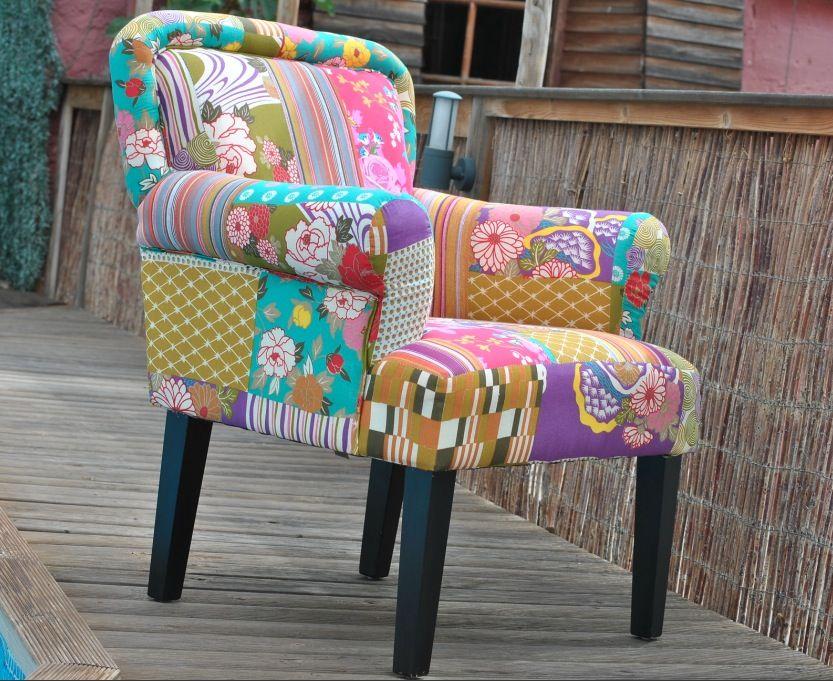 Sill n con reposabrazos patchwork 72 cm la patilla - Sillones tapizados en tela ...