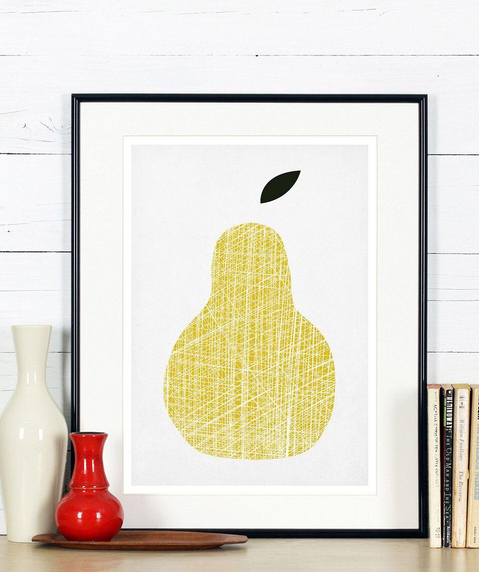 Fruit retro poster, yellow pear, minimalist design, kitchen art ...