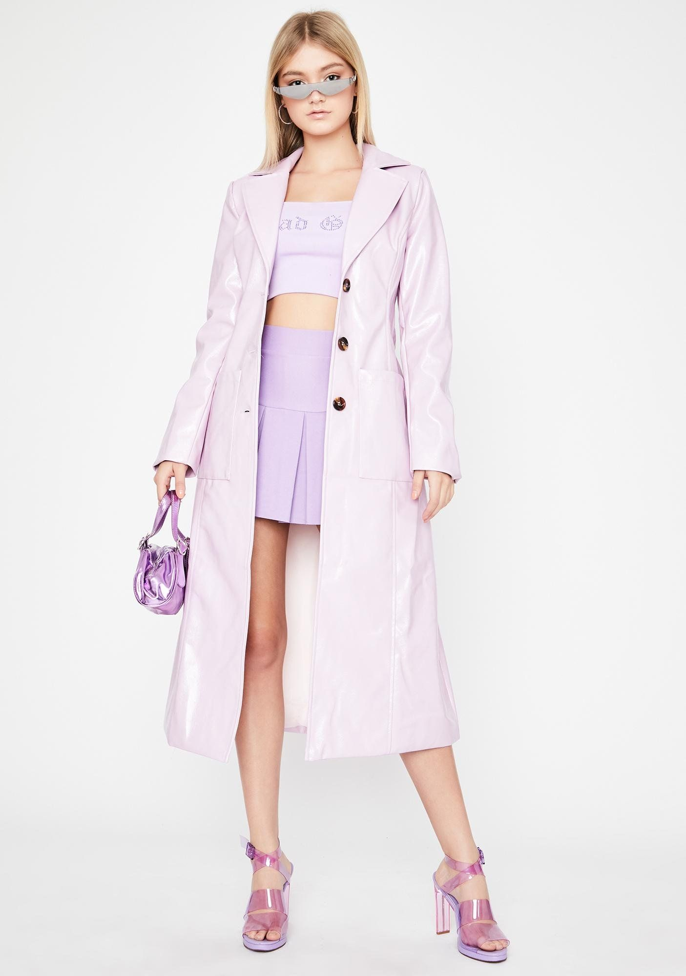 Lavender Vinyl Long Belted Button Up Trench Coat Dolls