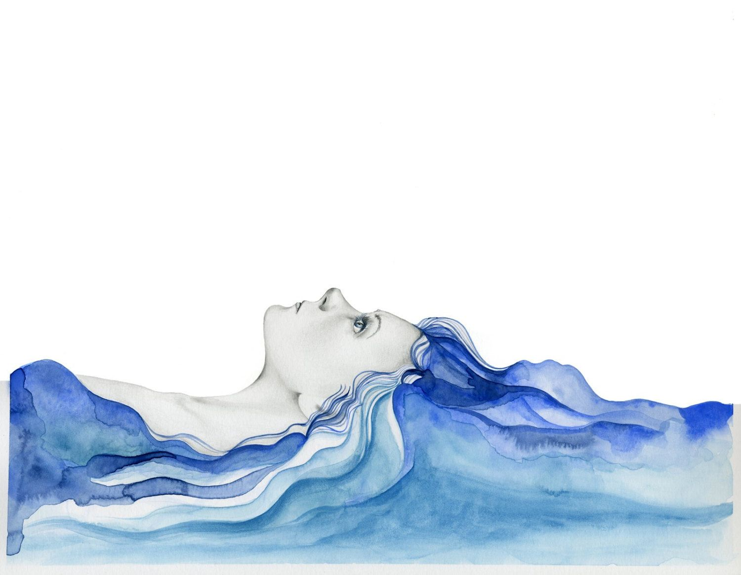 Summer Art Women In Art Blue Watercolor Painting Blue Hair Ocean