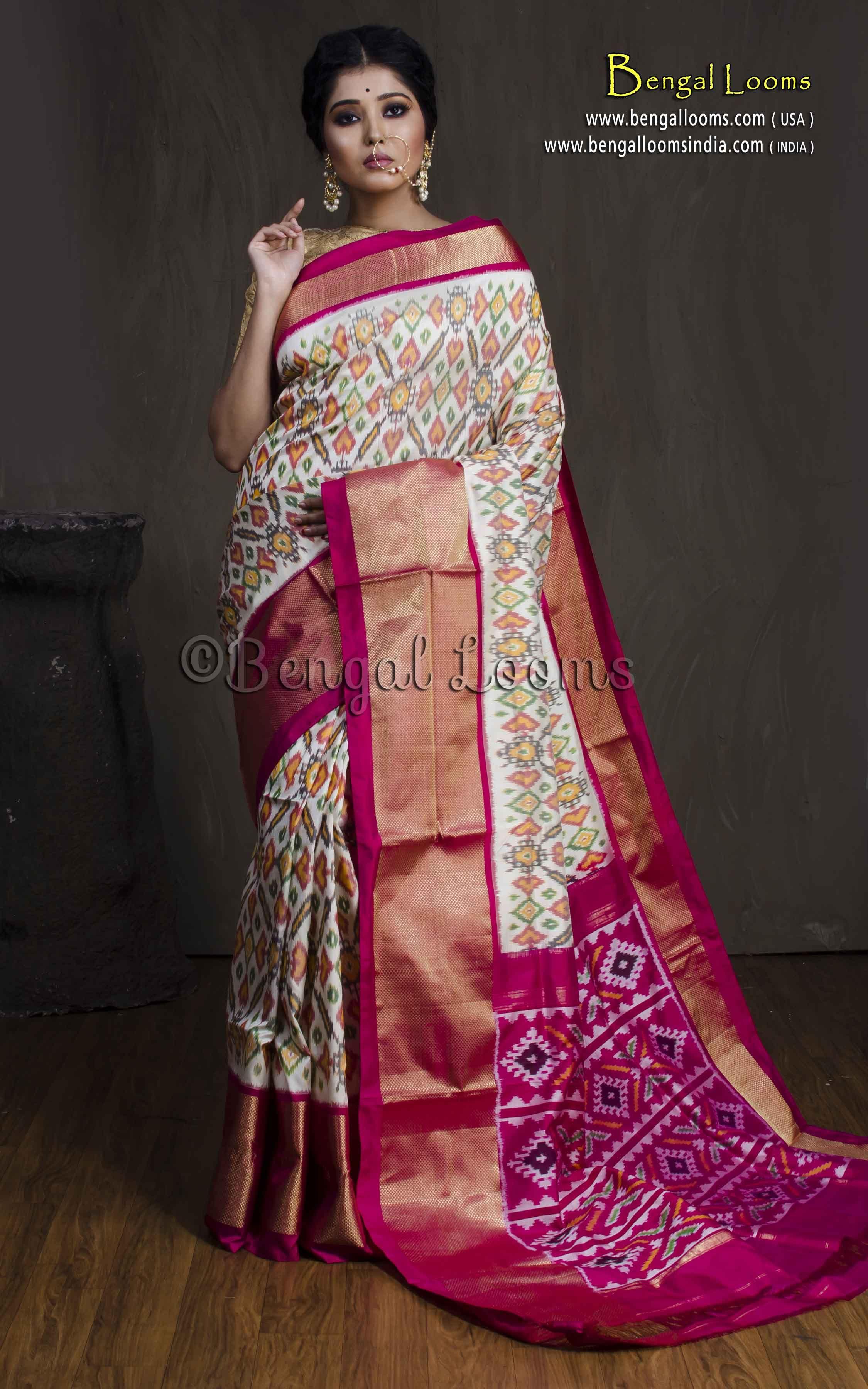 Pure silk saree 2018 patola double ikkat silk saree in off white rani and gold  ikkat