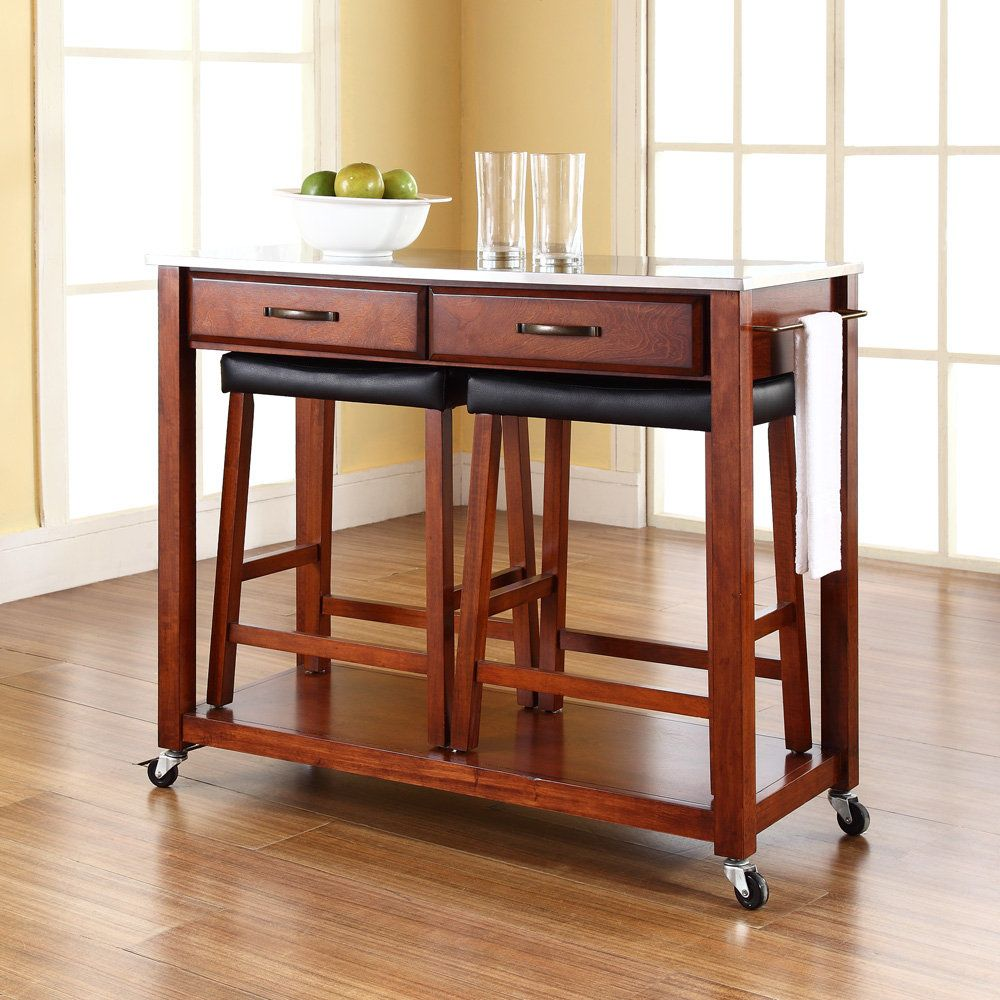 Crosley Furniture with Stainless-Steel Top Kitchen Cart Island ...