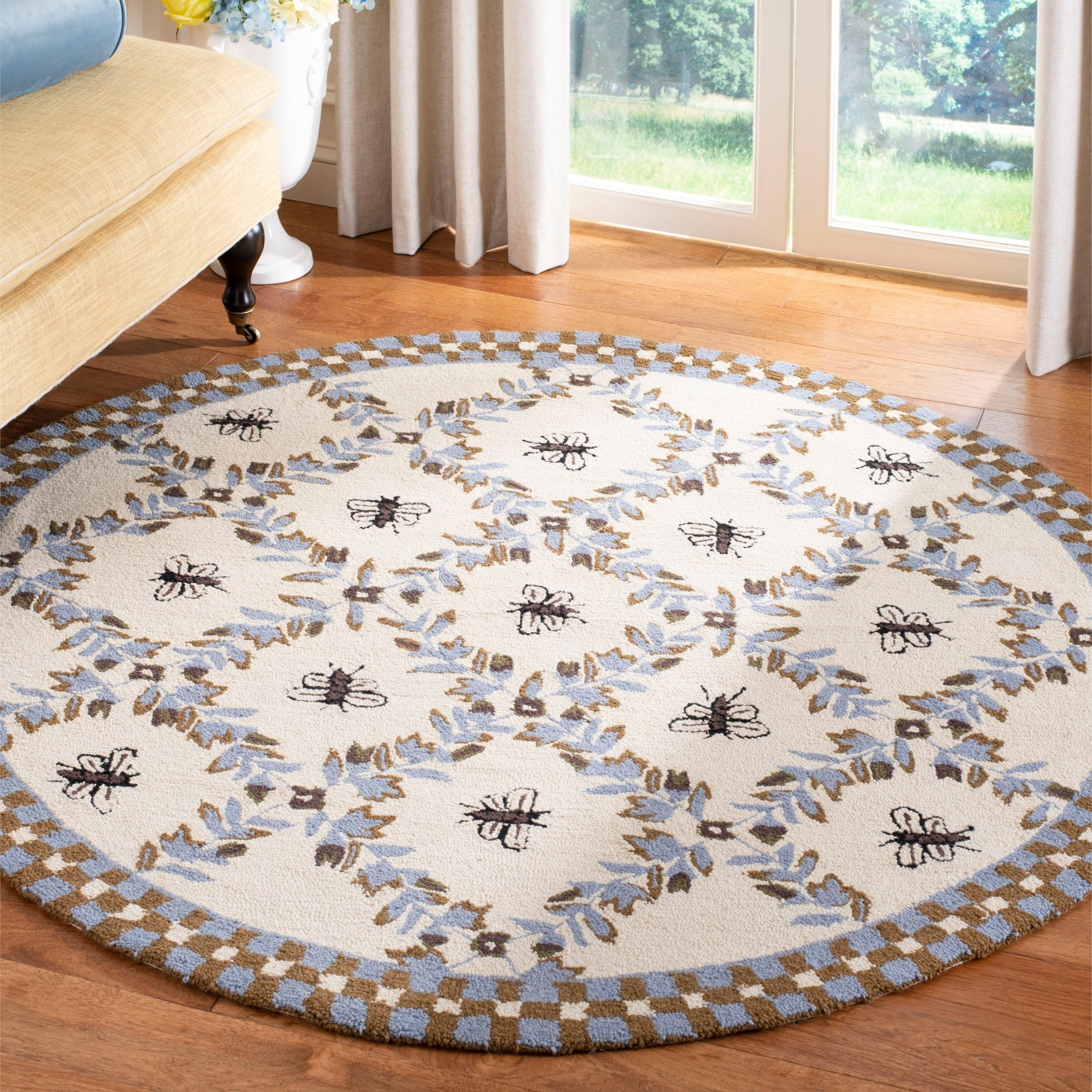 Safavieh Hand Hooked Bees Ivory Blue Wool Rug 8 X 8 Round 8