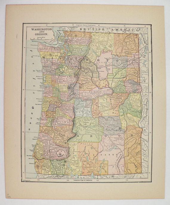 Vintage Map Oregon Washington Map 1896 Antique Map Washington Old