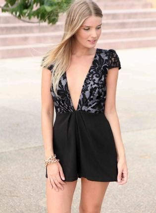 Black Plunging V-Neck Lace Playsuit,  Other, lace cap sleeve romper playsuit, Chic