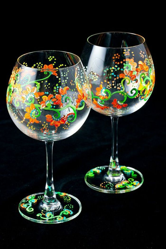Gl ser dekorieren glas mit farbe bemalen orange blumen do it yourself ideen pinterest - Glas dekorieren ...