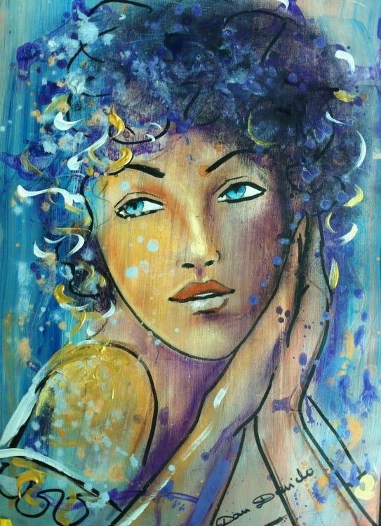 L 39 cume des r ves portrait expressionniste par dam domido peinture 30x42 cm par dam domido - Tuto peinture abstraite contemporaine ...