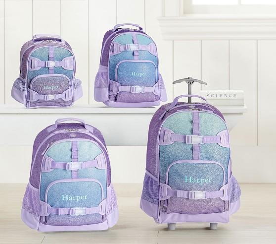 Mackenzie Lavender Aqua Ombre Sparkle Glitter Backpacks