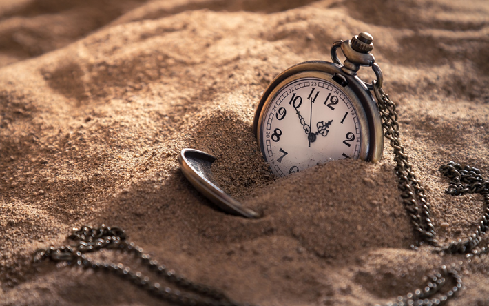 Download Wallpapers Old Pocket Watch Vintage Time Concepts Clock In The Sand Besthqwallpapers Com Relojes De Bolsillo Reloj De Bolsillo Reloj