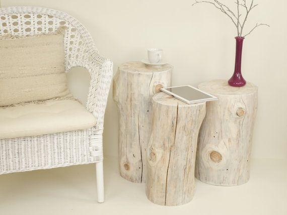 Set of white tree stump table wood trunk set weiß baumstumpf