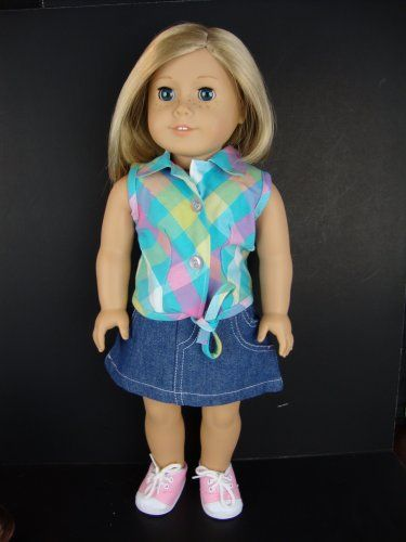 2pc Summer Outfit Blue and Pink Plaid Sleeveless Shirt and Jean Skirt Designed for 18 Inch Doll Like the American Girl Dolls Shoes Sold Seperately Olivia's Doll Closet http://www.amazon.com/dp/B007S0FN5C/ref=cm_sw_r_pi_dp_VzIjub0QQB26X