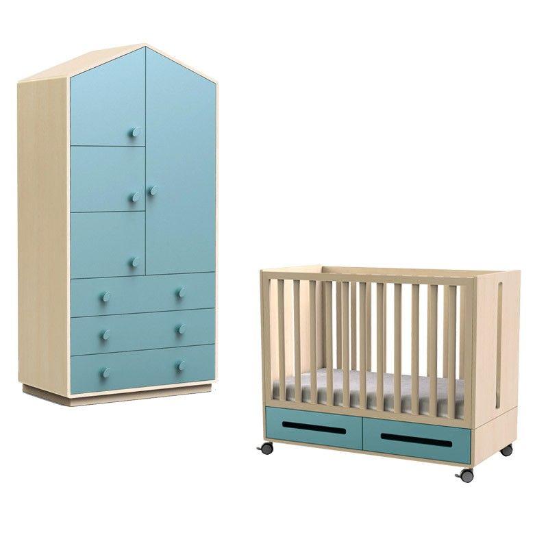 Chambre bébé avec lit Kaila et armoire forme maison bleu lagon ...
