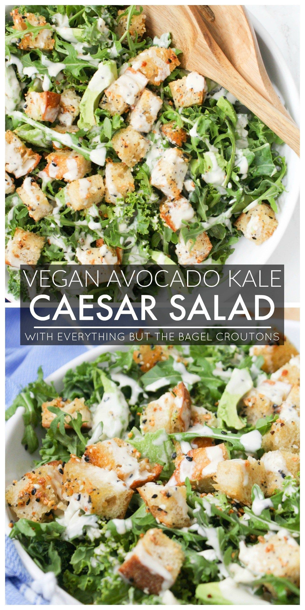 Vegan Avocado Kale Caesar With Everything Bagel Croutons