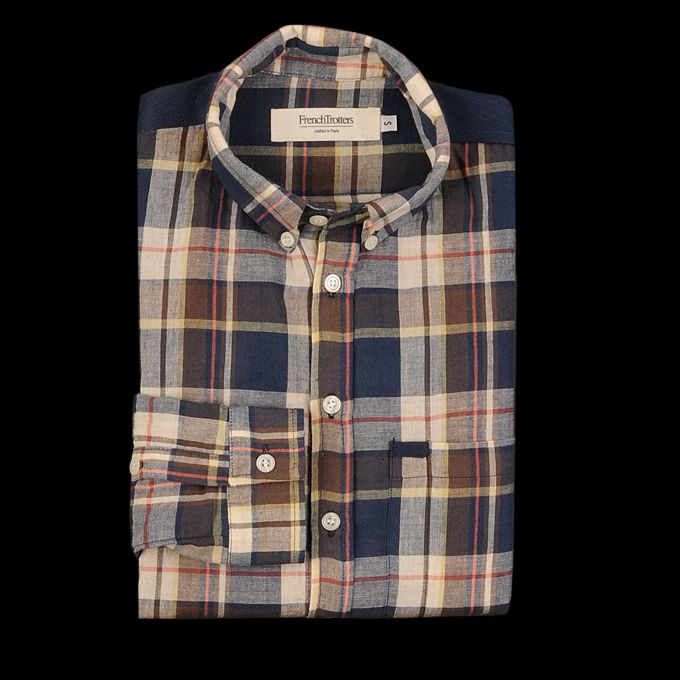 UNIONMADE - French Trotters - Sam Button Down in Navy and Brown Check