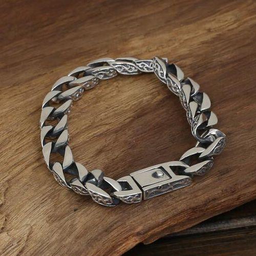 Ivy Pattern Curb Chain Bracelet Mens