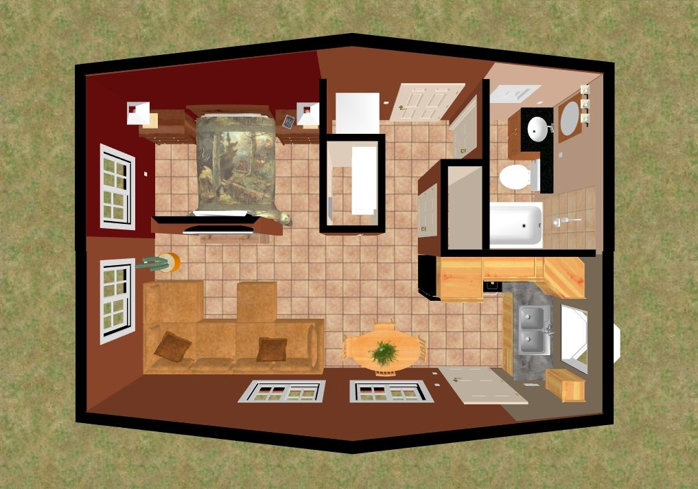 3D top view View of our 384 sq ft Crested Butte
