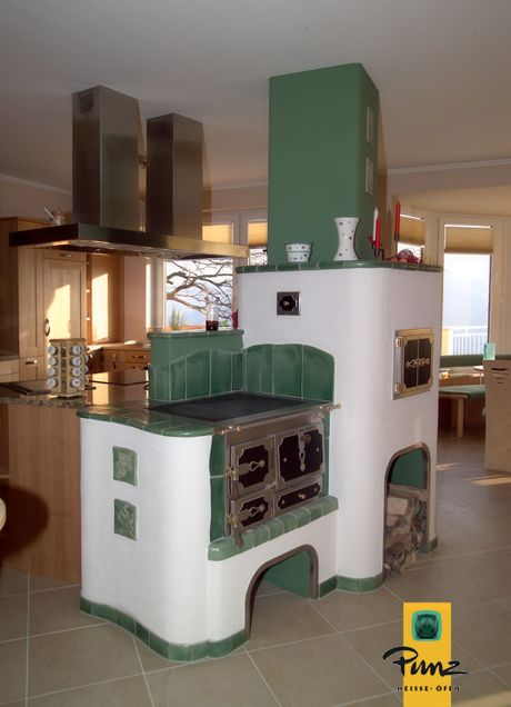 Kachelofen Kuchenherd In Kochinsel Heizkamin Ofen Ofen Kamin