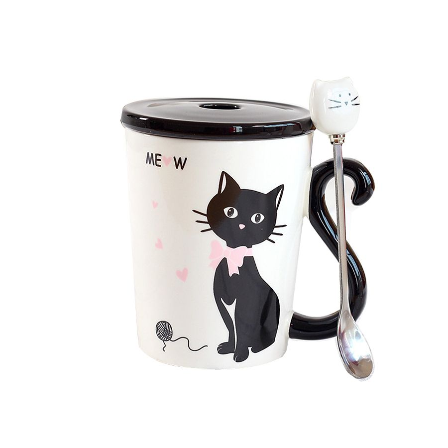 Awesome Ceramic Cat Tail Handle Mug With Lip Spoon Cup Set Water Coffee Tea Fruit  Juice Cup