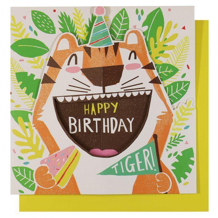 Tiger Fold Out Birthday Card Birthday Cards For Children Birthday Cards Cards Kids Birthday Cards Unique Birthday Cards Birthday Cards