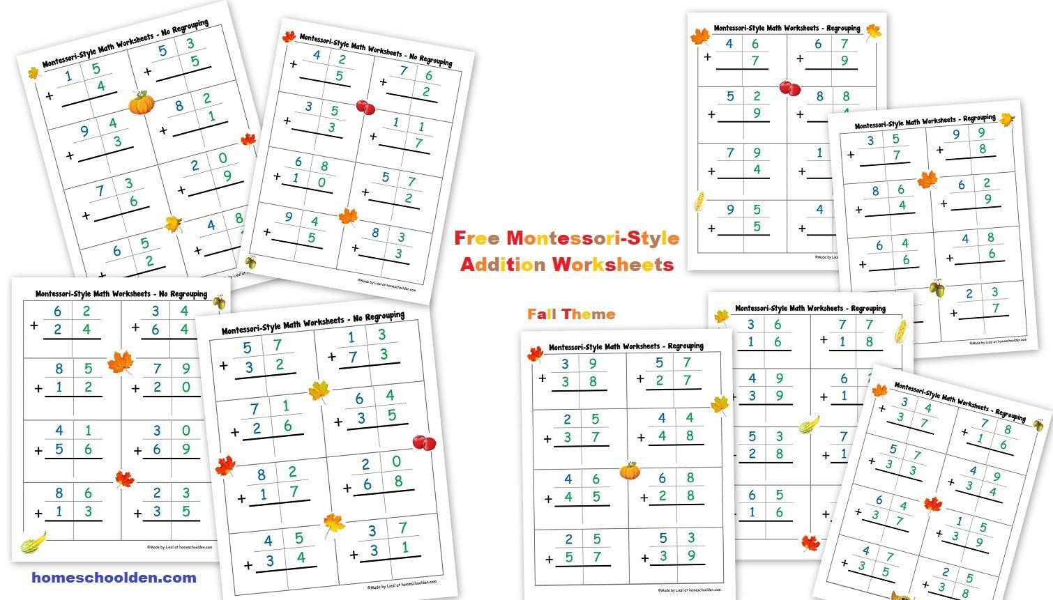Free Fall Montessori Addition Worksheets