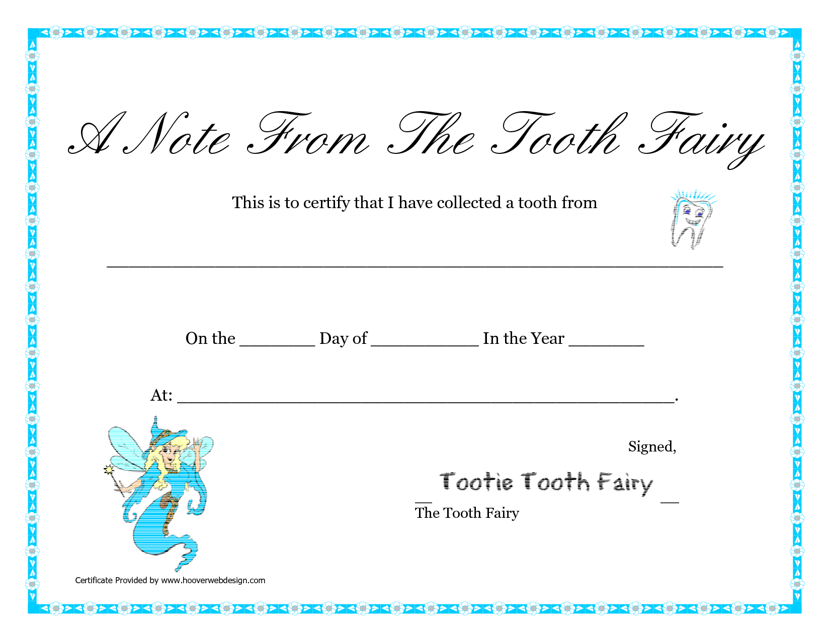 Free Printable Tooth Fairy Letter