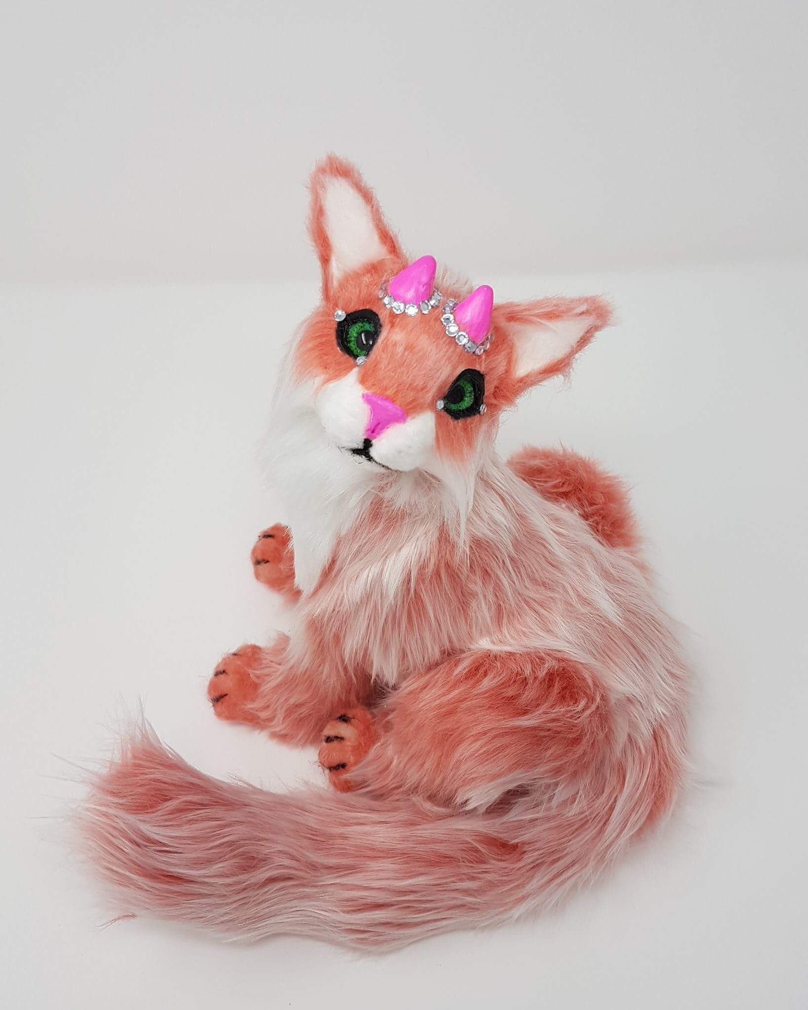 """SOLD Poseable art doll cat """"Devine"""" the pink horned cat"""